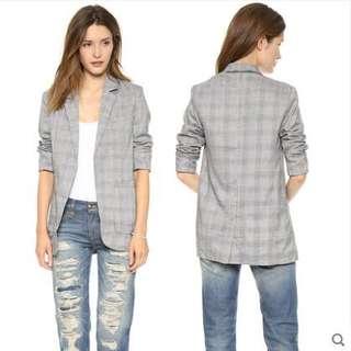 [PO H130] Houndstooth Stripe Checkered Casual Blazer