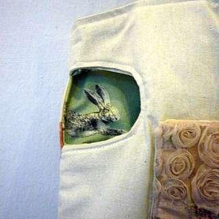 Handmade Bag :Fox and Rabbit Hole Totebag + Fox Brooch