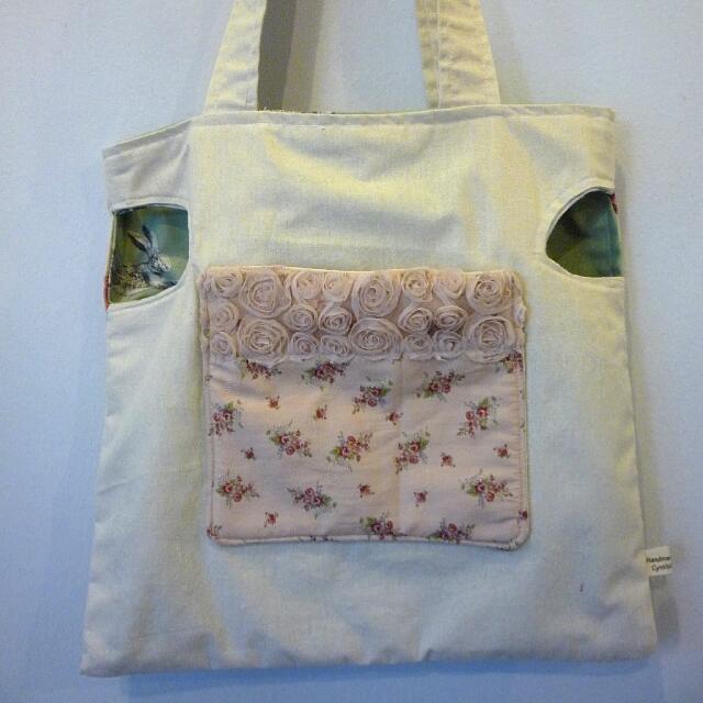 Handmade Bag : Fox And Rabbit Hole Totebag