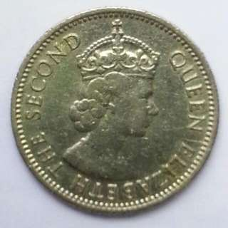 QUEEN ELIZABETH I I - 5 CENTS COIN YEAR 1958.