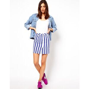 ASOS HW Striped Denim Skirt