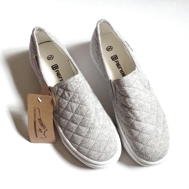BNIB Grey Quilted Loafers (Size 39)