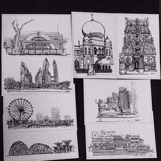 hand sketches postcard