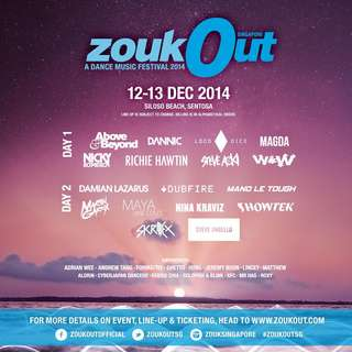 4 Tickets To Zoukout 2014 (Both Days)(Reserved)