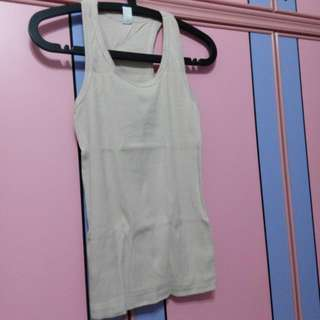 Brand New Beige Colour Crossback Muscle Cotton Halter Neck Tee Shirt Top Not Uniqlo Christmas