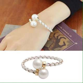 White Twisted Leather Weaved Pearl  Bangle