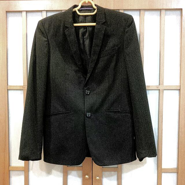 topman slim fit blazer 38 jacket coat black with black stripes