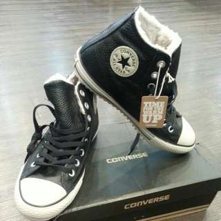 Converse Shearling-look Hi-tops  ' Leather '