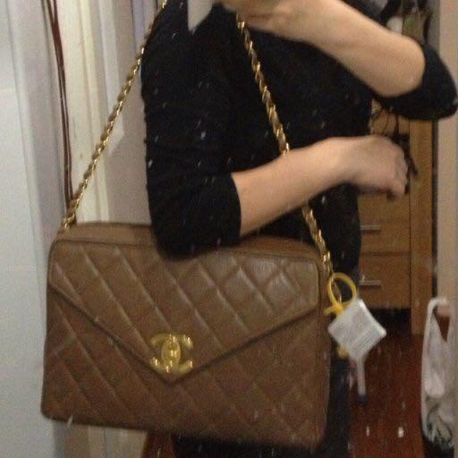 2e6575b8f44409 Chanel Giant Taupe Brown Caviar Jumbo Classic Camera Bag with Flap, Luxury  on Carousell