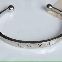 Love Bangle Cuff Silver