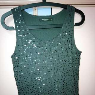 9.5/10 Almost New Mint Condition Wore & Washed Once G2000 Women Collection Black Colour Shining Sequins Sleeveless Blouse Top Glittering New Year