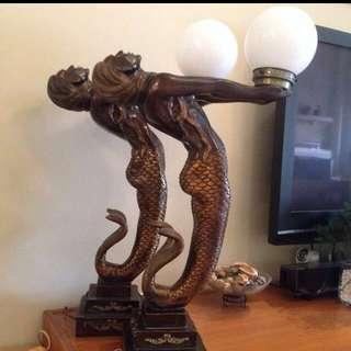 Bronze-finished Mermaids Lamp Pair