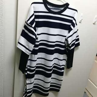 全新黑白條紋長版衣