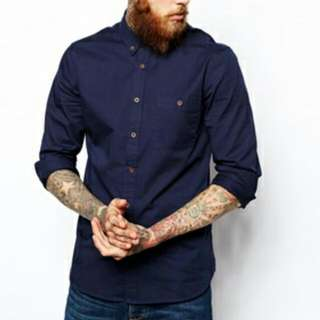 Asos Twill Shirt Navy Blue Size L