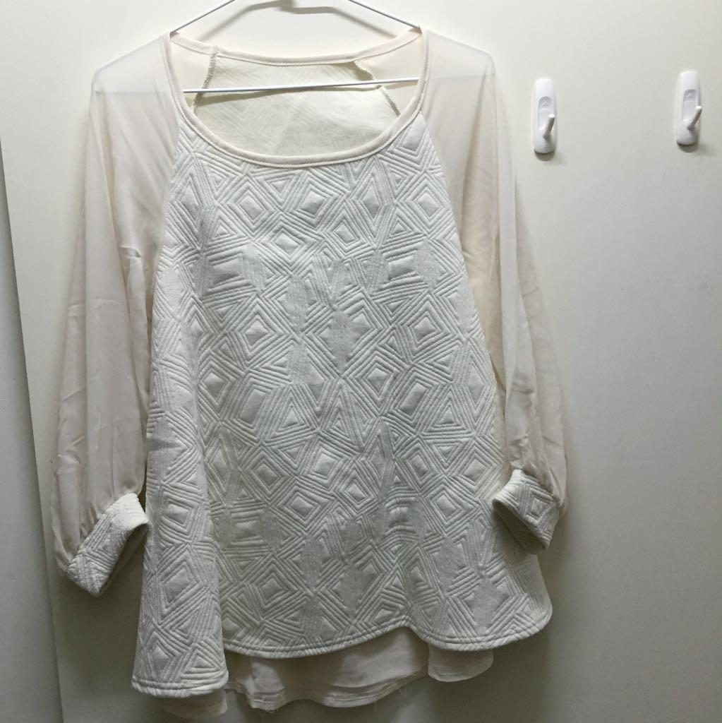全新雪紡棉質拼接米色上衣