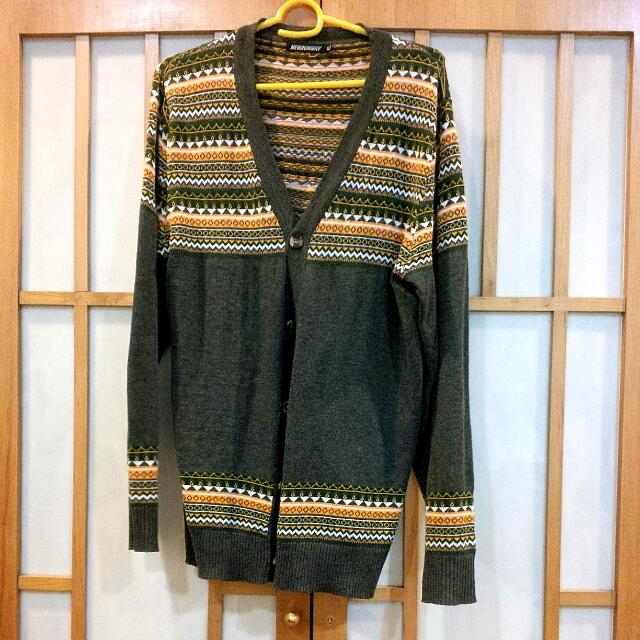 aztec print cardigan size xl new runway olive green