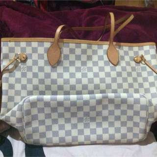 authentic LV Neverfull Azur MM