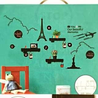 DIY (Paris) Wall Sticker Deco With 3 Shelves