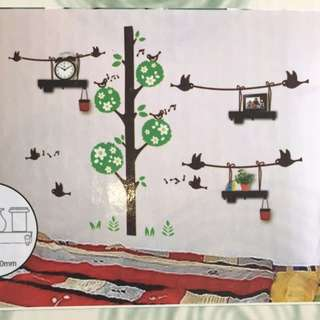 DIY (Tree) Wall Sticker Deco With 3 Shelves