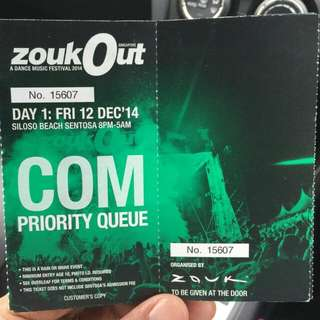 A Pair Of 1 Day Zouk Out Priority Queue Tickets (A Dance Music Festival 2014)