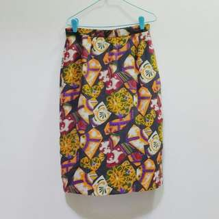 Vintage Quirky Pattern Printed Pencil Skirt