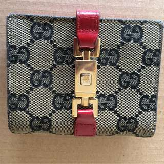 Authentic Gucci SSIMA Jackie Clothe & Leather Wallet