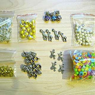 (great Deal!) Bag Of Jewelry Making Supplies. Charms And Whatnot