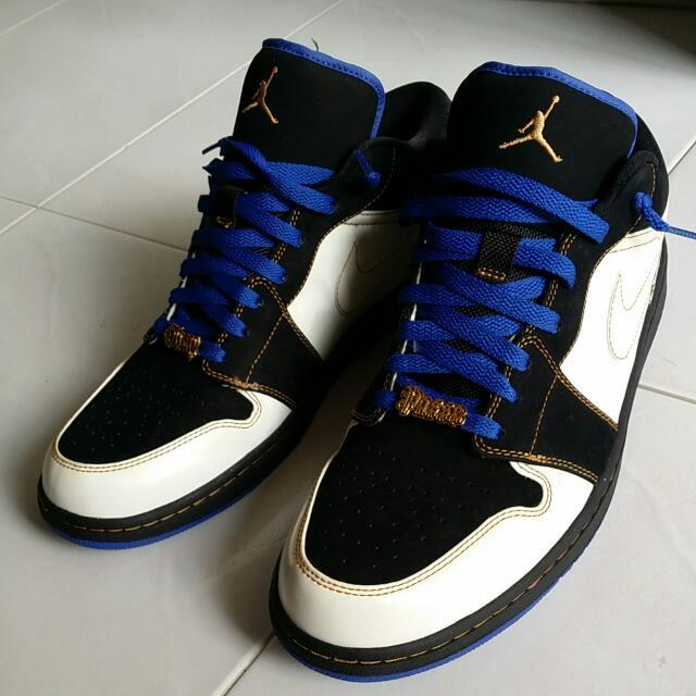 "63feac4ba0e0 Air Jordan 1 Phat Low ""Playground"" in Black White-Varsity Royal-Gold ..."