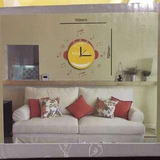 DIY Wall Deco Sticker With Led Light Clock (Ready Stock)