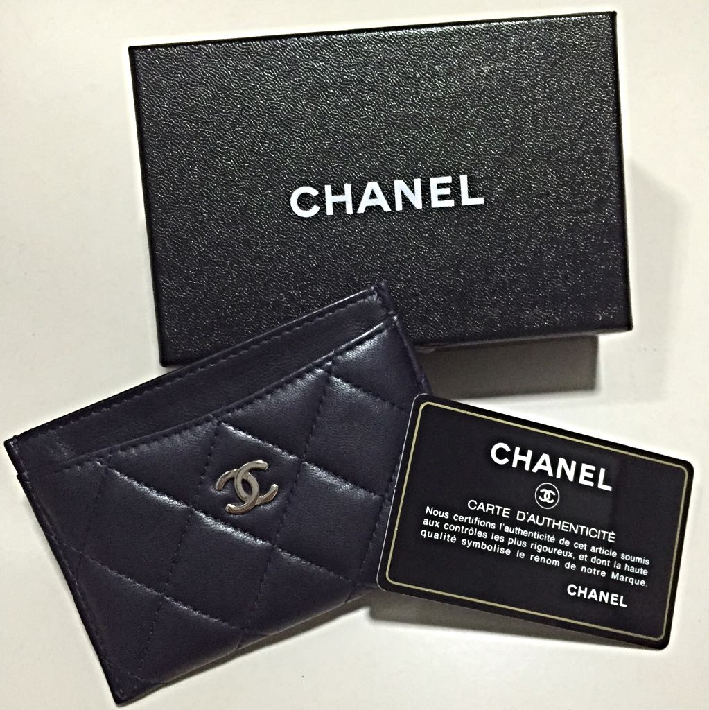 Chanel Card Holder With Silver Logo, Luxury, Bags & Wallets on ...