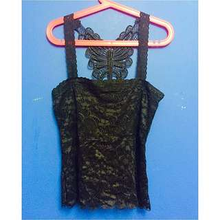 Black Laced Butterfly Back Top