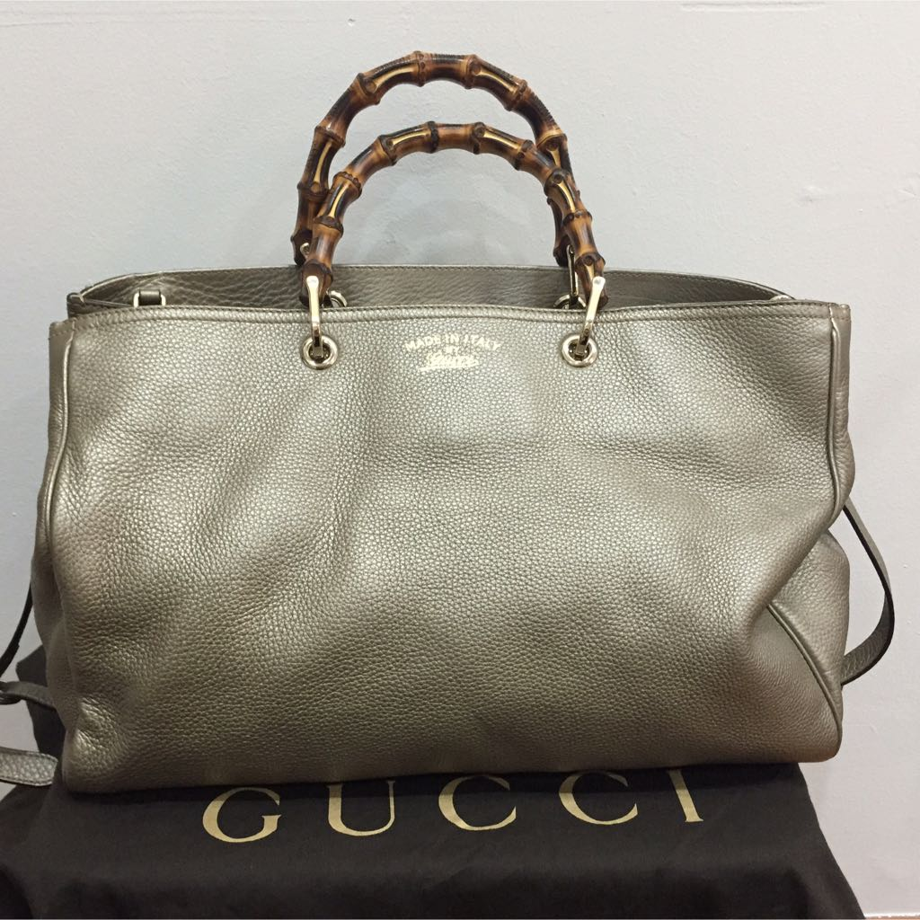 c608a97263347 Authentic Lightly Used Gucci Bamboo Leather Tote Large