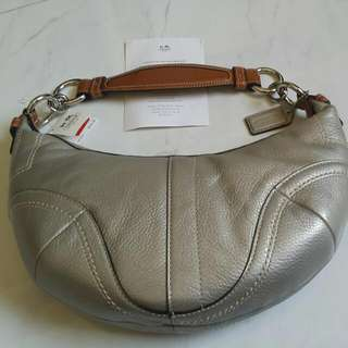 PRICE REDUCED!!NEW COACH LEATHER SMALL HOBO TOTE SILVER GOLD PEWTER PURSE - RETAILS @ USD258 -Z17196