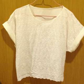 Oversized Lace Crop Top