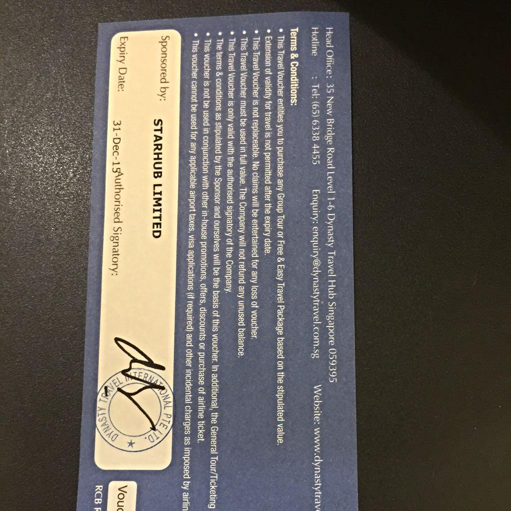 Dynasty Travel Voucher Worth $500