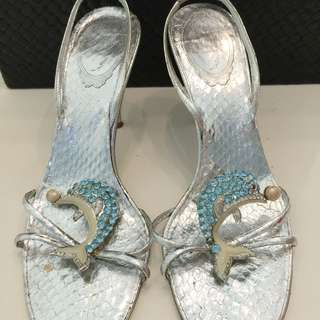 $120 Nett. Rene Caovilla, Sz 39 Used, Python Silver Sling Backs With Dolphins From On Pedder, Defect: Single Blue Stud Missing At One Tail. Was $1250 Now $180 Nett, No Trade, Only Dustbag