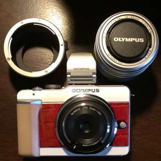 Olympus PEN E-PL1, VF-2, 15mm body cap lens, 14-42, EF-m43 adaptor