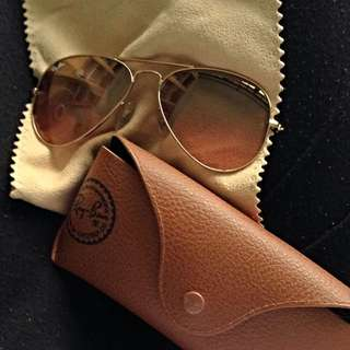 Original Ray Ban Sunglasses, Dusty Pink Glass Shades With Golden Rims, Very Good Condition, Rarely Used. Price Negotiable.