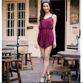 Maroon lace runner romper