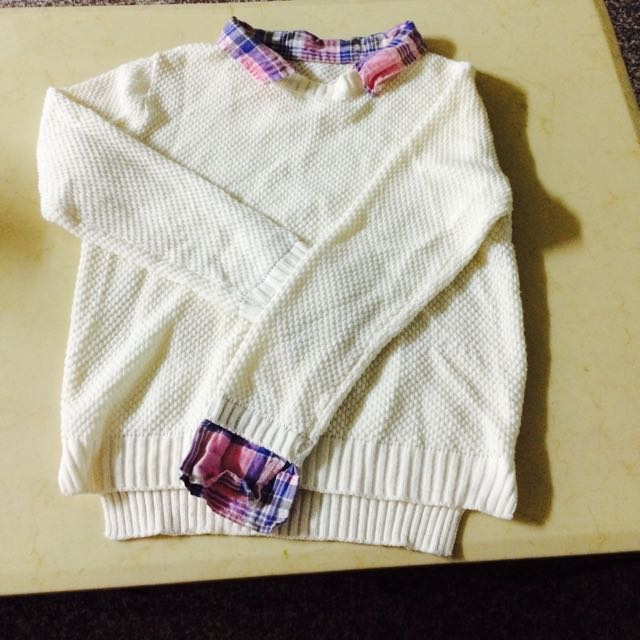 韓版 假兩件毛衣襯衫