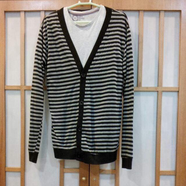 slim fit gray and black striped cardigan size s