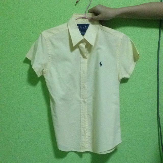 Short Sleeved Ralph Yellow Polo Down In Shirt Lauren Button pjLzqVGSUM