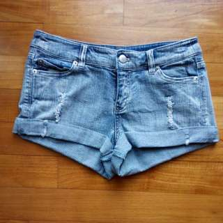 Low Waisted Ripped Denim Shorts