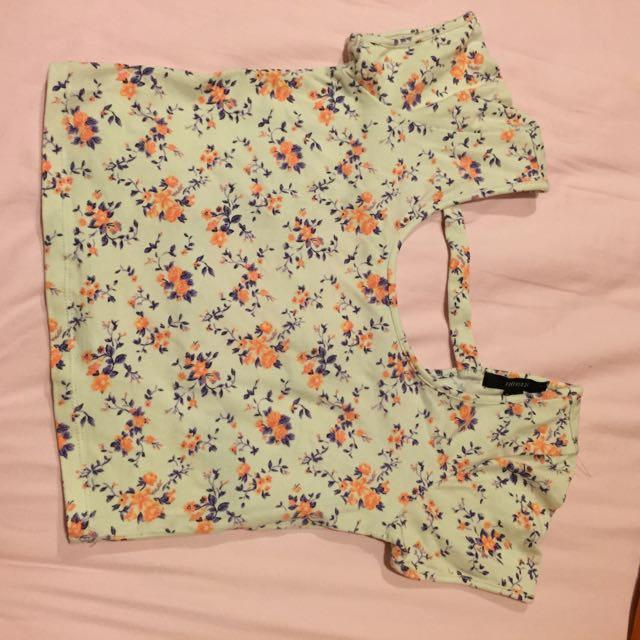 F21 Flowery Stripped Back Crop Top