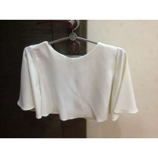White cape cropped top