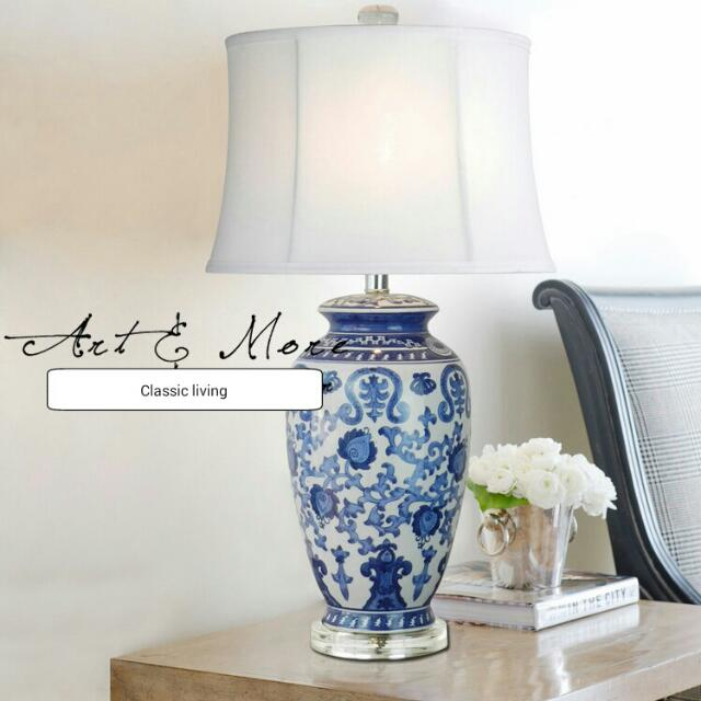 Hotel Collection Blue White Qing Wa Chinese Vase Lamp Furniture On
