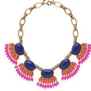 Ethnic Tribal Statement Necklace Blue