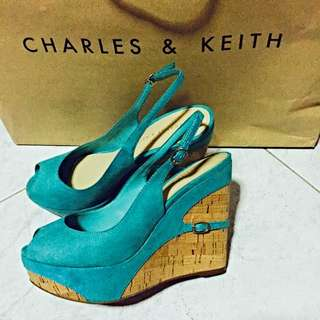 BN Charles & Keith Turquoise Suede Wedges