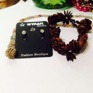Ear Studs, Hippy Bracelets And Hand-made Beaded Choker Necklace