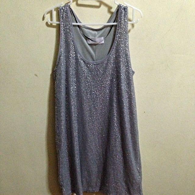 6a630ddf Zara Grey Sequin Slip Dress, Women's Fashion on Carousell